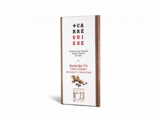 Chocolate negro 71% de cacao ecológico combinado con arándanos